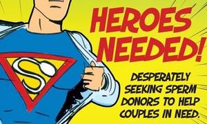 Anuncio de Fertility Associates pidiendo a los hombres neozelandeses que sean héroes y hagan donaciones de esperma.