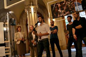 Els membres de RUIDO Photo, amb Silvia Omedes i Lourdes Cirlot, a la UB.