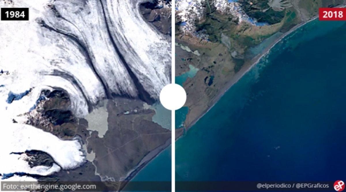 Imagen del cambio en el lago glaciar Jökulsarlon