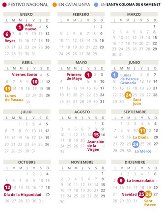 Calendario laboral de Santa Coloma de Gramenet del 2020.