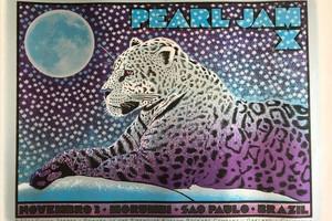 Cartel de Pearl Jam para su concierto en Morumbi, Sao Paulo. Por Chuck Sperry