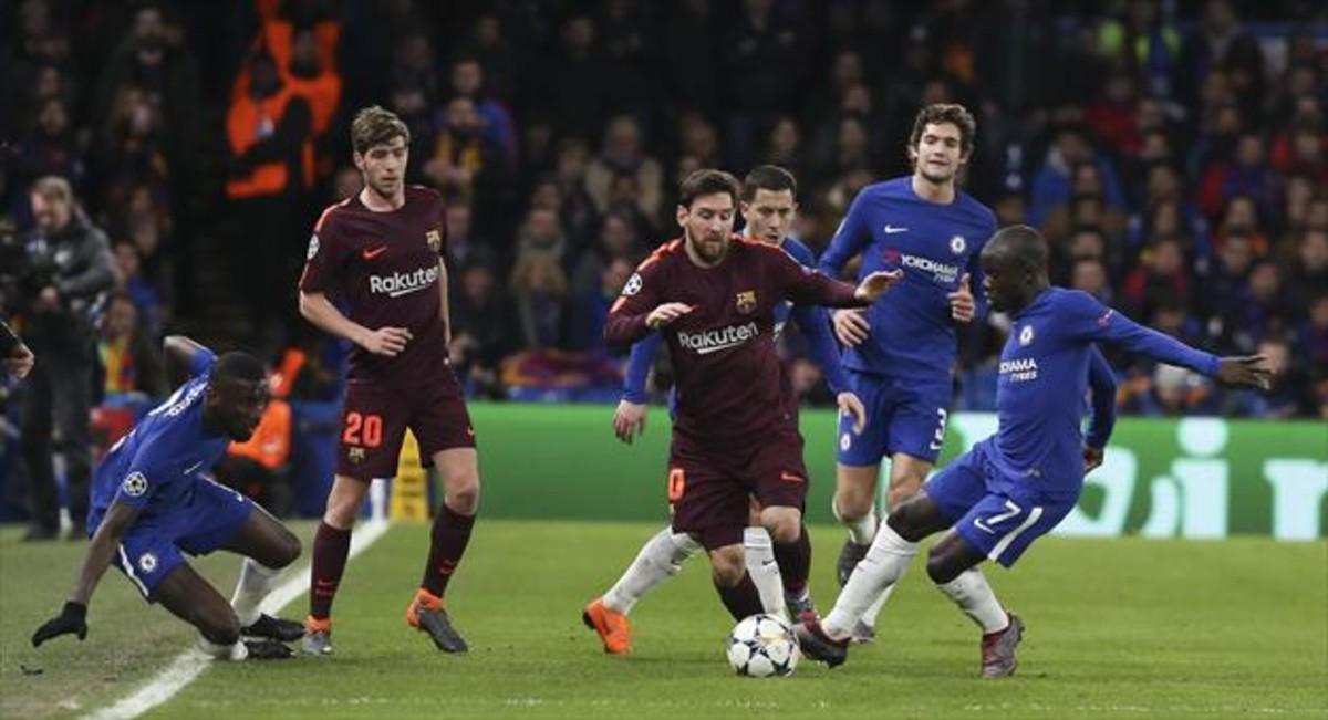 Messi, en el Chelsea-Barça de la Liga de Campeones.