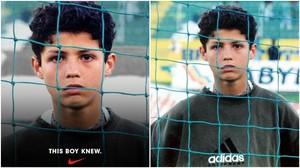 La campaña de Nike se basa en una foto de un joven Cristiano Ronaldo con una sudadera de Adidas