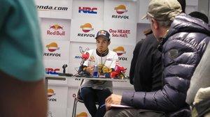 Dani Pedrosa, en la última conferencia de su vida como piloto de Honda, hoy, en Valencia.
