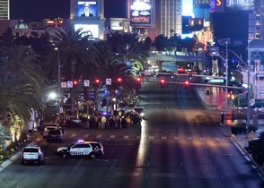 LAS VEGAS, NV - DECEMBER 20: Vehicle traffic on the Las Vegas Strip is closed as police investigate the area after a car crashed into a group of pedestrians on the sidewalk in front of the Paris Las Vegas and Planet Hollywood Resort & Casino reportedly injuring at least 35 people and killing one on December 20, 2015 in Las Vegas, Nevada. Ethan Miller/Getty Images/AFP