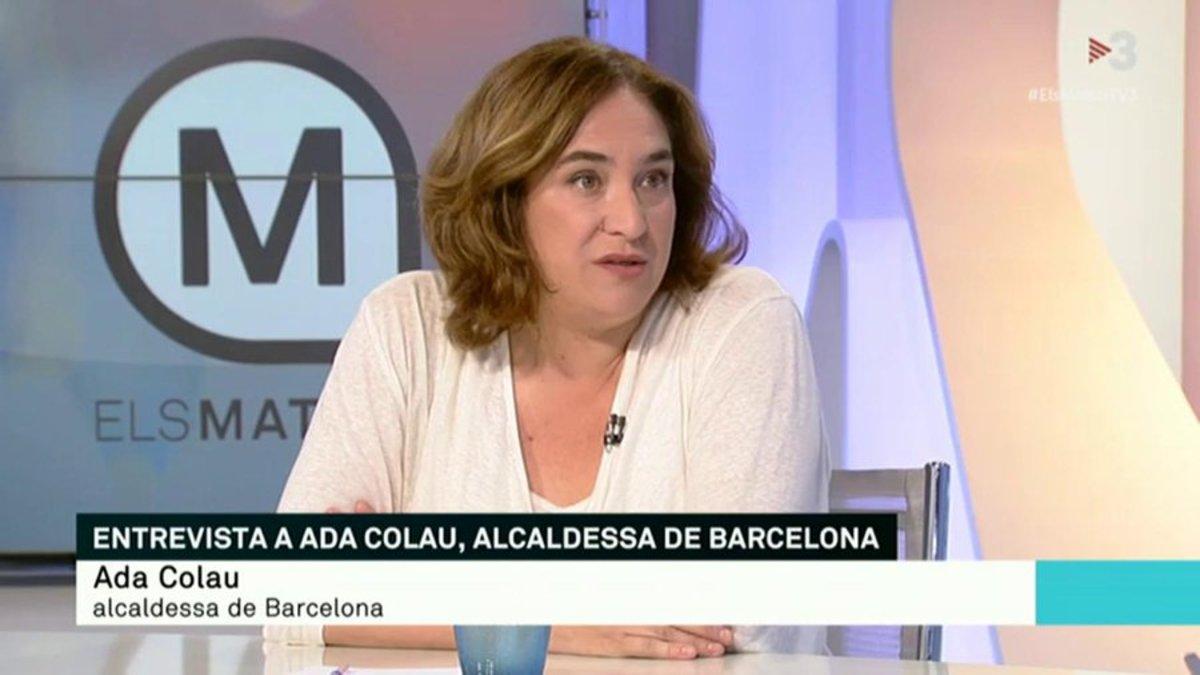 Ada Colau, durante su entrevista en 'Els Matins' de TV3.
