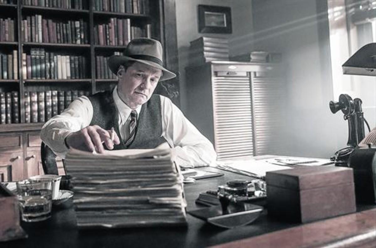 El actor Colin Firth, en el papel de Max Perkins, en una escena de 'El editor de libros'.