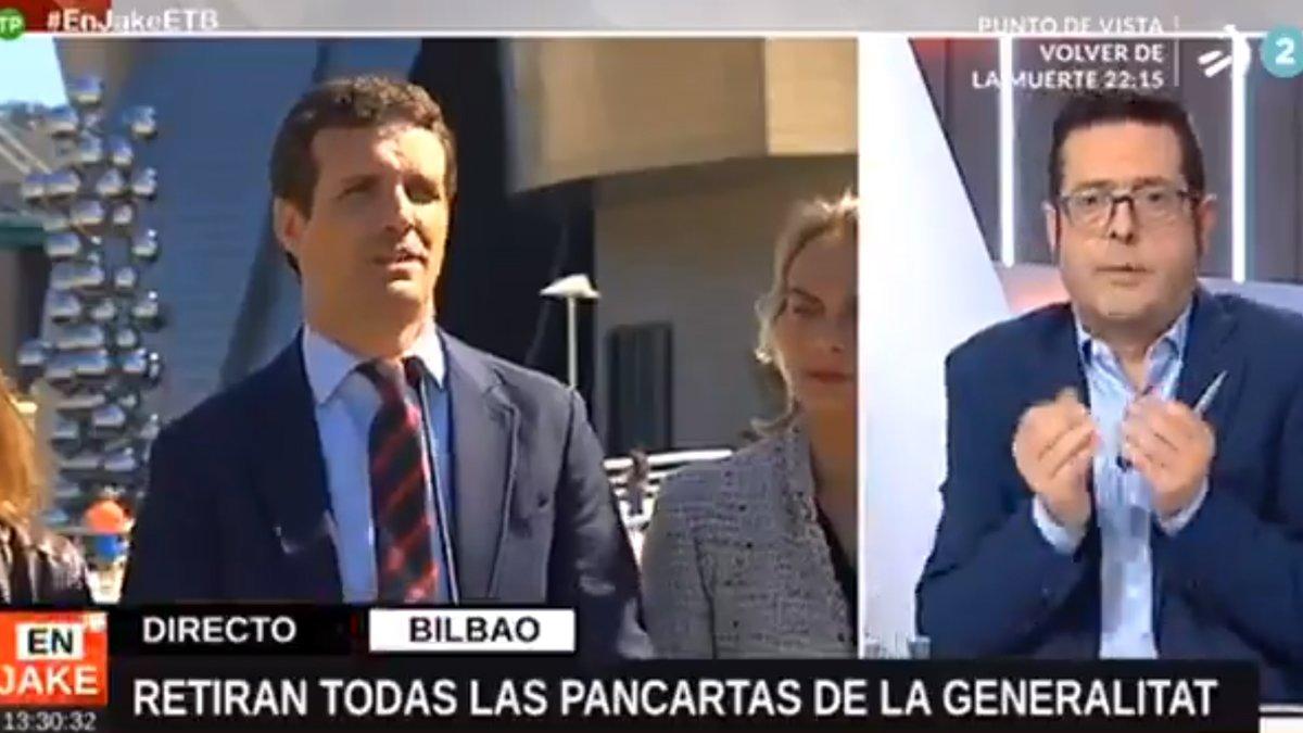 """Un presentador de ETB, tras el lapsus geográfico de Pablo Casado: """"No me lo puedo creer, qué incompetencia"""""""