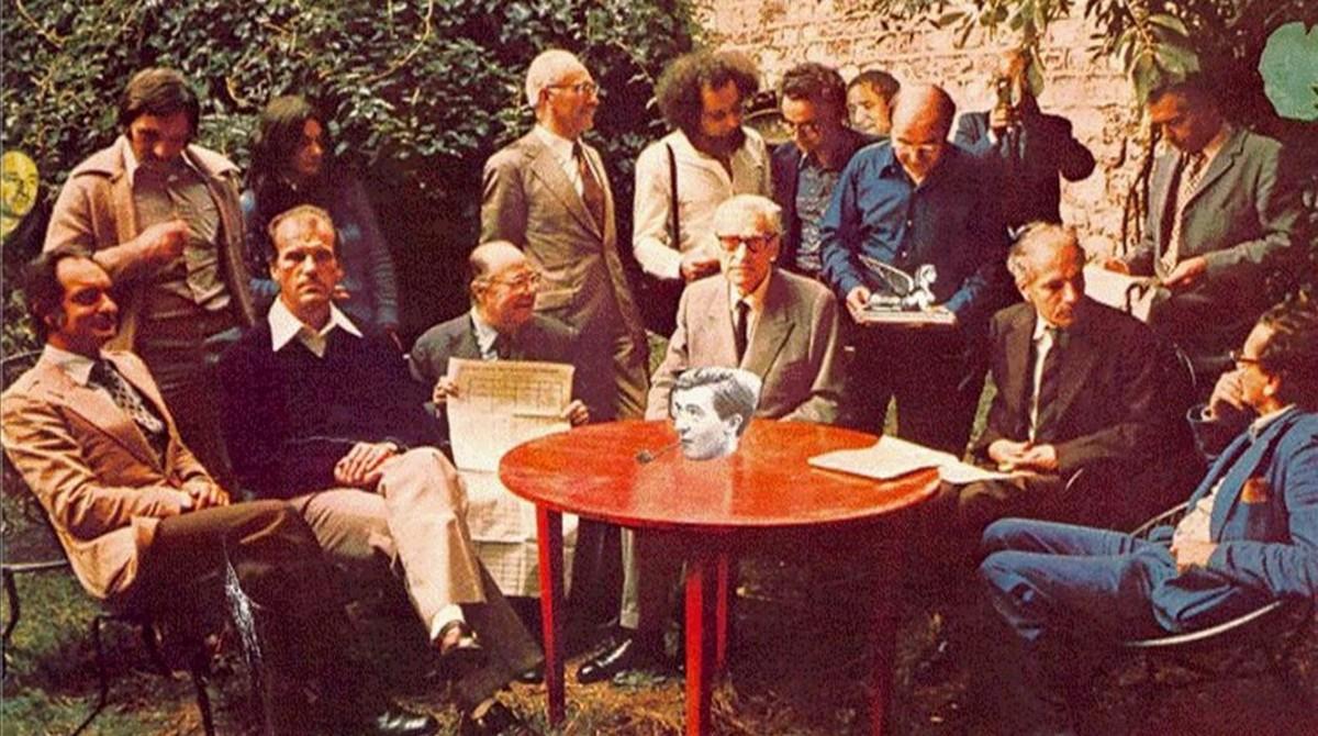 Encuentro de los miembros del Oulipo en Boulogne-sur-Mer,en 1975.