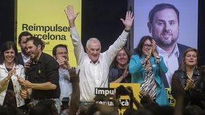 Ernest Maragall celebrasu victoria en las elecciones al Ayuntamiento de Barcelona.