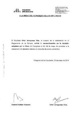 Escrito de ERC a la Mesa del Congreso sobre la suspensión de los diputados presos
