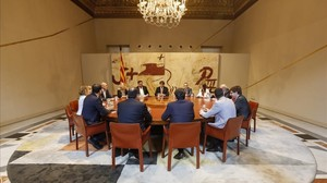 Reunión del Consell Executiu, presidida por Carles Puigdemont, el pasado 9 de junio.