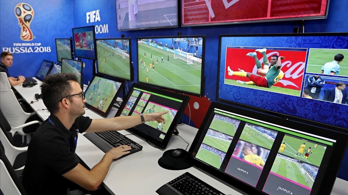 La sala del videarbitraje durante el Mundial de Rusia.