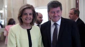 Guy Ryder y Fátima Báñez, ministra de Empleo, que le presentóen la conferencia de hoy.