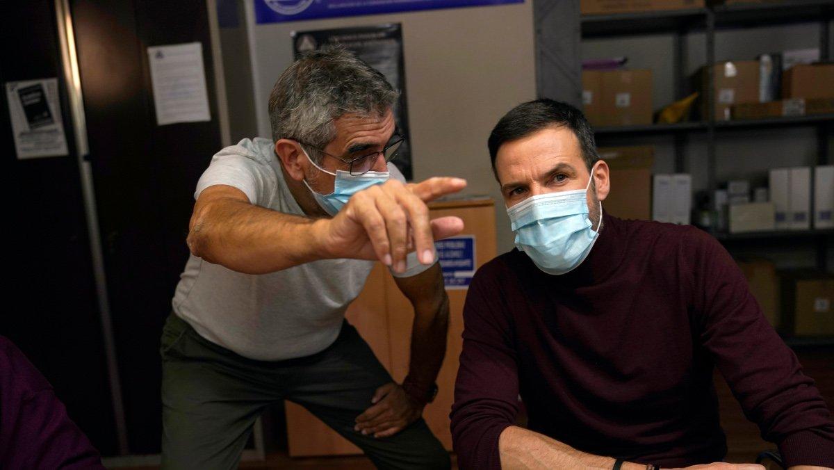 Joaquín Oristrell y Daniel Grao, en el rodaje de 'Hit'.