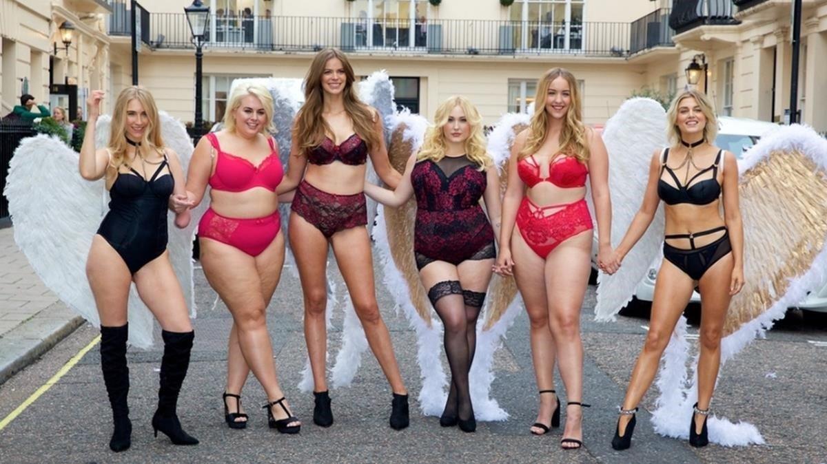 Robyn Lawley, con varias modelos de tallas grandes, en Londres.