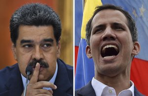 Nicolás Maduro y Juan Guaidó en la disputa por el poder en Venezuela. FotoAFP