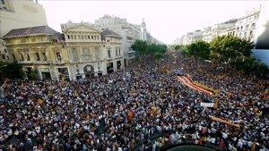 Manifestación en Barcelona contra la sentencia del Estatut, el 10 de julio del 2010