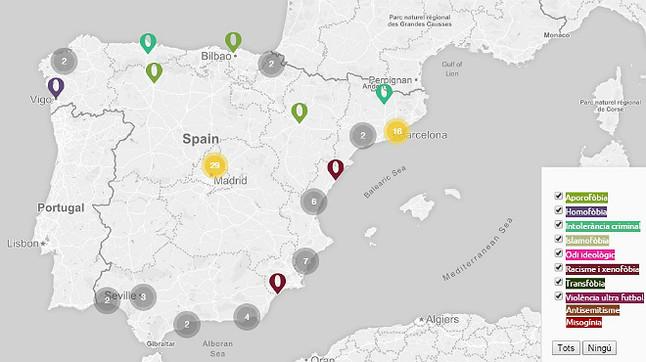 Imagen del mapa en el que se muestra los crímenes de odio de los últimos 25 años.