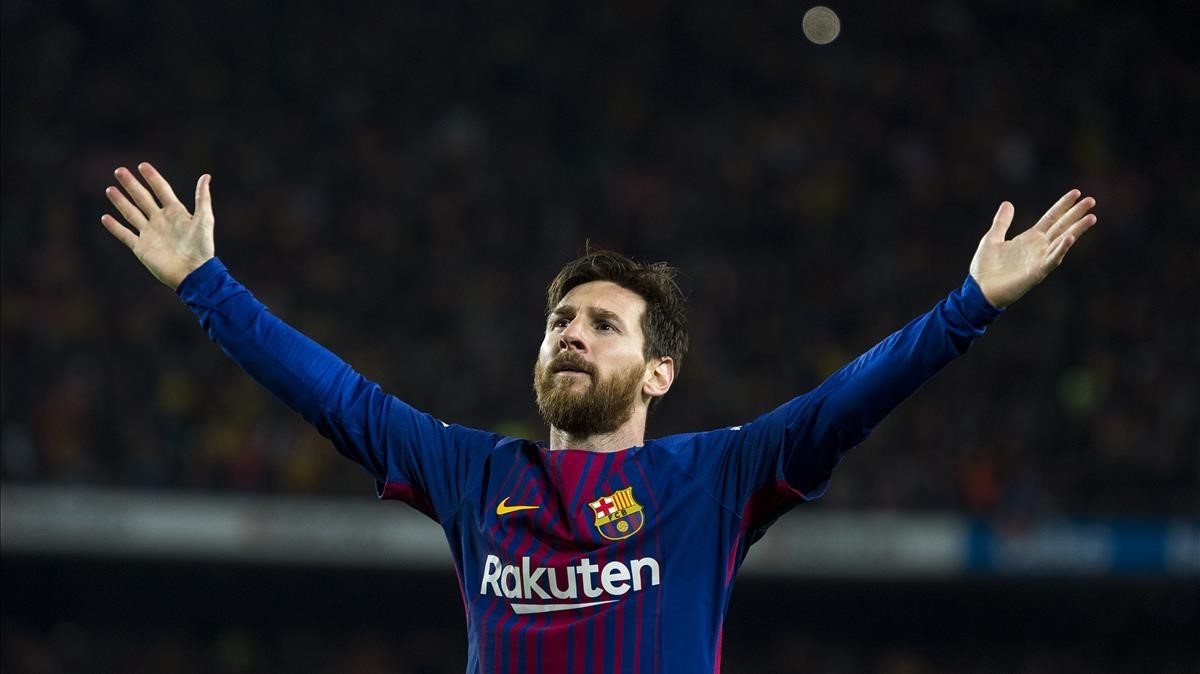 Messi celebra el domingo su gol ante el Madrid.