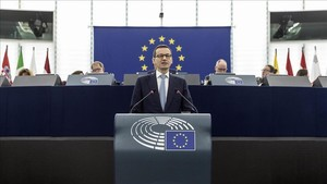 Mateusz Morawiecki, durante su discurso ante el Parlamento Europeo.