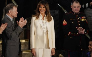 Melania Trump, a su llegada al Congreso para escuchar el discurso presidencial.