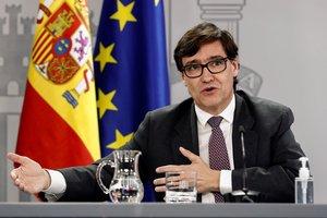 El ministro de Sanidad, Salvador Illa, durante la rueda de prensa posterior a la reunión semanal del Gabinete, este 20 de octubre en la Moncloa