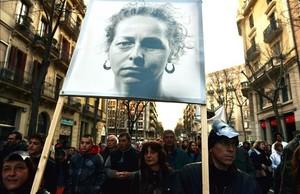 Manifestación celebrada el pasado 2013 para exigir la retirada de las balas de goma y en apoyo a Ester Quintana.