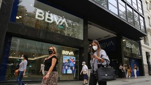 Oficina del BBVA en la Avenida Diagonal de Barcelona.