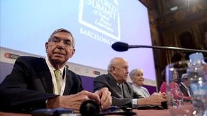 Oscar Arias, el expresidente de Costa Rica laureado con el Premio Nobel de la Paz en 1987, durante la primera sesión de la cumbre dedicada a los refugiados.