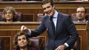 Pablo Casado, en octubre, en la sesión de control al Gobierno.
