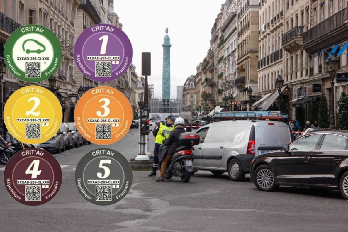 Las viñetas de París que clasifican los vehículos en función de su nivel de emisiones.