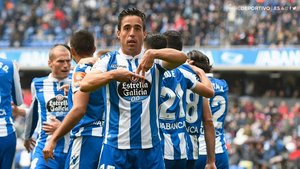Pedro Sánchez celebra el segundo gol del Deportivo al Reus.