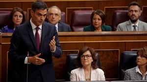 Pedro Sánchez, durante el pleno en el Congreso.