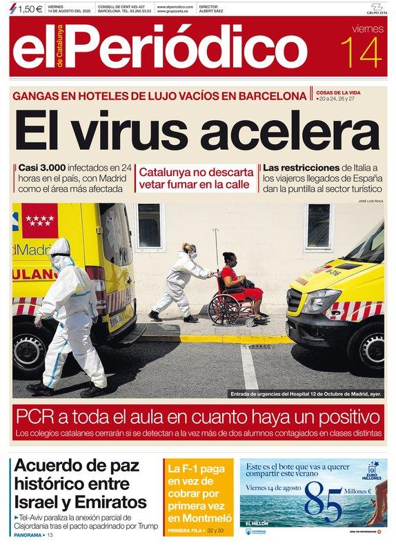 La portada de EL PERIÓDICO del 14 de agosto del 2020