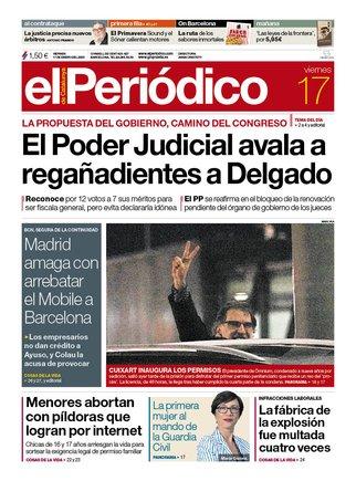 La portada de EL PERIÓDICO del 17 de enero del 2020.