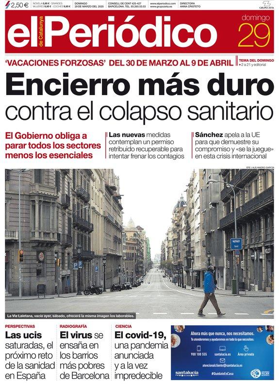 La portada de EL PERIÓDICO del 29 de marzo del 2020