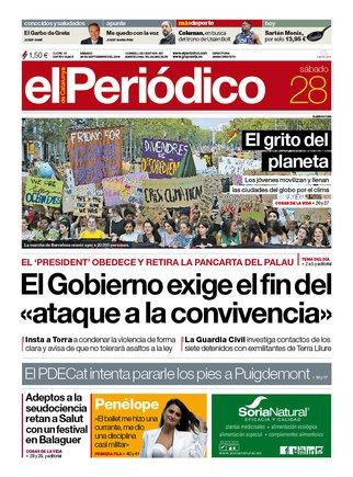 La portada de EL PERIÓDICO del 28 de septiembre del 2019.