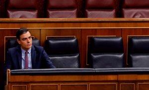 El presidente del Gobierno, Pedro Sánchez, durante lasesión de control al Ejecutivo, este miércoles en el Congreso.