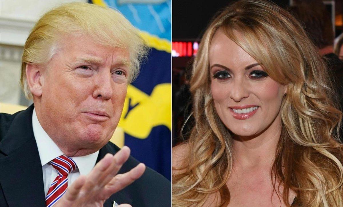 El presidente de EEUU, Donald Trump, y la actriz porno Stormy Daniels.
