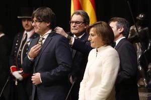 Puigdemont, Mas y Forcadell, en la toma de posesión del president.