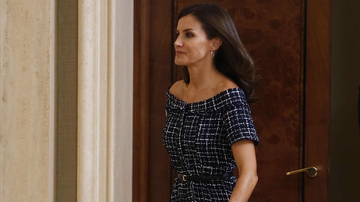 La reina Letizia, en el Palacio de la Zarzuela, este lunes.