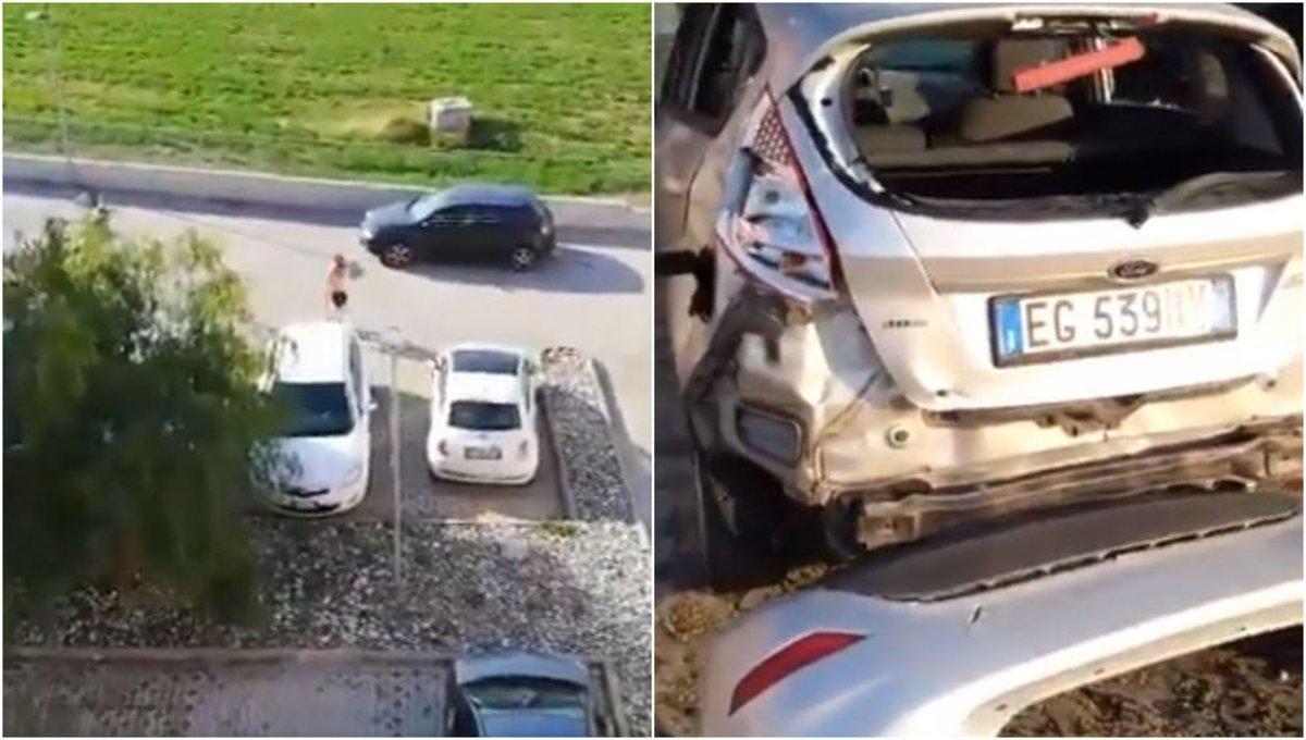 Así quedó el coche golpeado por el 'runner' con un martillo.