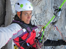 Sílvia Vidal, durante la apertura de la vía Un pas més en Alaska, el pasado julio.