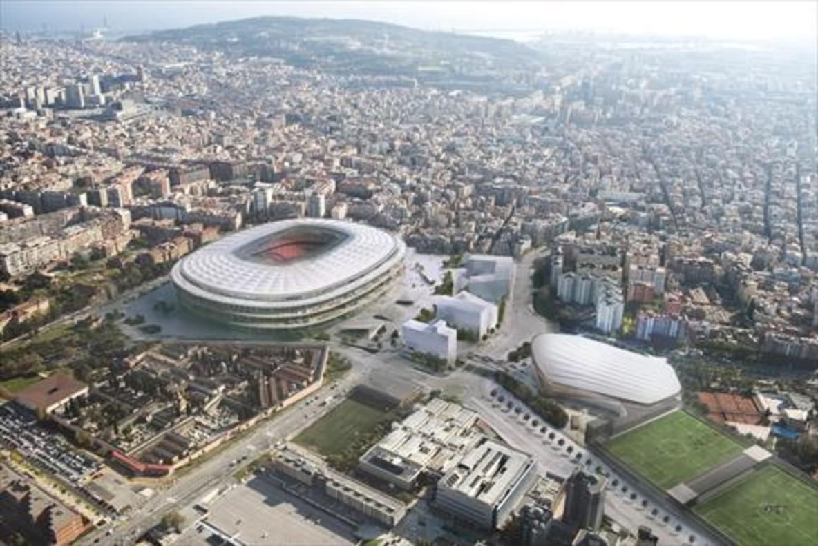Simulación informática del actual proyecto del Espai Barça visto desde aire.