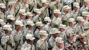 Soldados americanos en Afganistán durante la conmemoración del atentado del 11-S.