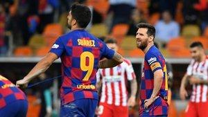 Suárez y Messi, en el último partido que han disputado juntos: la semifinal de la Supercopa de España ante el Atlético.