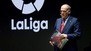 Tebas, en un acto de la Liga en Madrid.