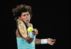 Tennis - Australian Open - Quarterfinals - Rod Laver Arena, Melbourne, Australia, January 23, 2018. Spains Carla Suarez Navarro in action during her match against Denmarks Caroline Wozniacki. REUTERS/Issei Kato