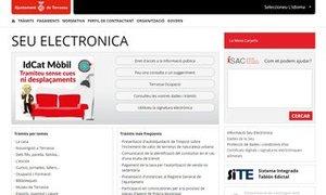 Web de la Sede Electrónica del Ayuntamiento de Terrassa.